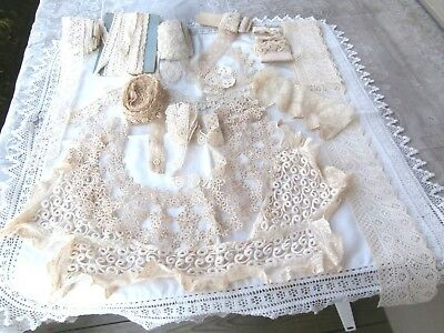 Lovely LOT OF FINE ANTIQUE VINTAGE INSERT EDGE LACE, 3 Collars,  Trim Lot 38 yd