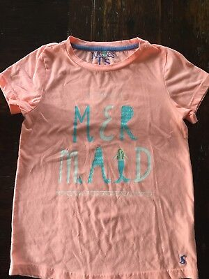 JOULES 11-12 Girls Peach Short Sleeve Shirt 100% Cotton I Really Am A Mermaid
