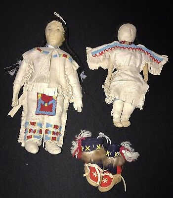 Genuine Hand Made Beaded Plains Indian Dolls And Moccasins