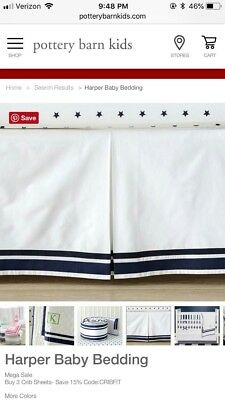 "Pottery Barn Harper baby crib skirt 28"" x 52"" blue and white"