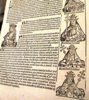 1493 INCUNABLE Ancient NUREMBERG CHRONICLE Bible HISTORY Church POPES Saint LEAF