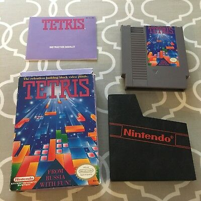 Vintage 1989 Nintendo NES Tetris Game In Box With Manual Complete Tested Works