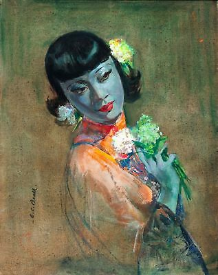 The Fan by Cecil Be from the Tretchikoff Era -  Art Print Size A4