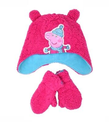 Official Licensed Girls 3 Piece Set Hat Scarf Mittens Age 2-6 Years Pink Peppa