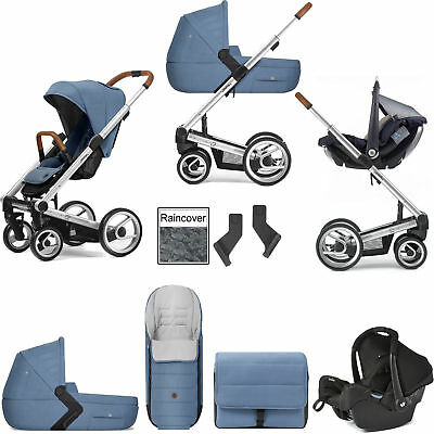 Mutsy I2 Heritage Blue Silver Frame Gemm Travel System & Accessories