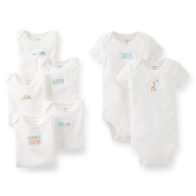 NEW NWT Girls or Boys Carters Neutral Unisex 7 Pack Bodysuits Size 3 Months