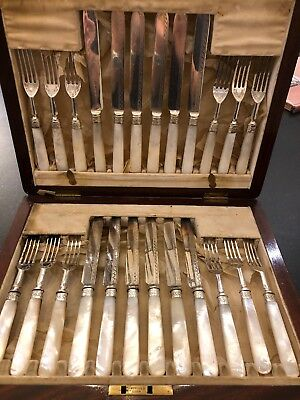 Antique Silver Plate& Mother of PearlFruit Knives & Forks Mahogany Box Rodgers