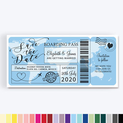 Personalised Destination Boarding Pass Ticket Travel Wedding Save The Date Cards