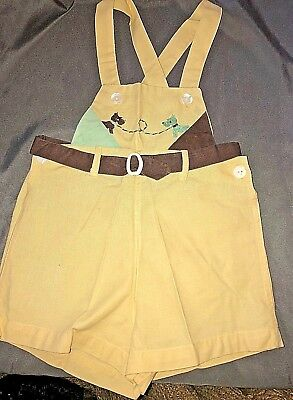 Vintage Baby Boys 1950's Tiny Beau Yellow Shortall Overalls Embroided Dogs