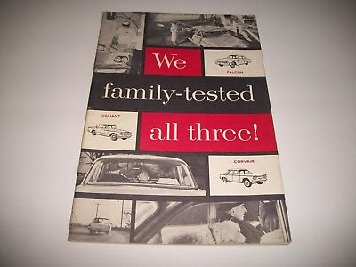 1960-61 PLYMOUTH VALIANT  vs. FORD FALCON & CHEVROLET CORVAIR TEST BOOKLET