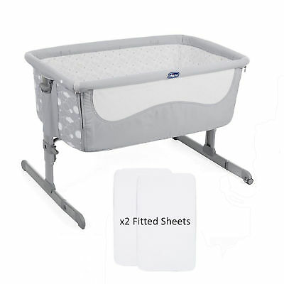 Chicco Elegance Special Edition Next 2 Me Side Sleeping Crib & X2 Fitted Sheets