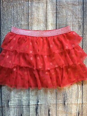 Holiday Time Girls Skirt Size 10/12 Red Polka Dot Sparkle Ruffle Tiered Q32
