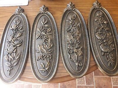 Vintage Set of 4 Season Syroco Wall Plaques Flowers Brown And Gold Homco