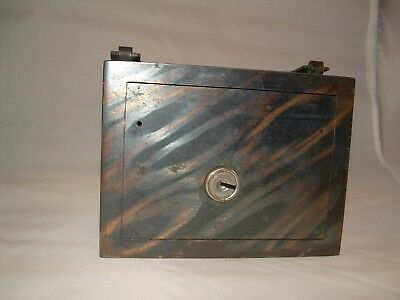 Heavy Steel (not cast iron) Vintage Strongbox Bank