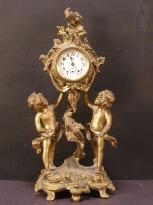 LG 1800's Cherub Bronze Gilt Figure Statue Sculpture Porcelain Face Mantle Clock