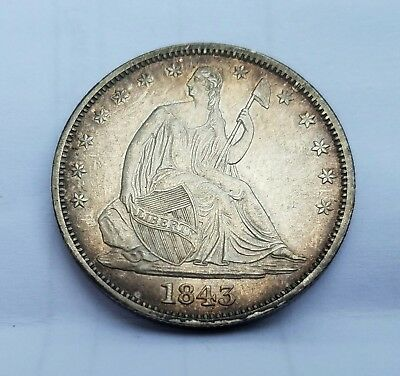 Gorgeous 1843 US Seated Liberty Half Dollar .50c Fifty Cents