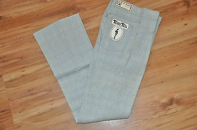 Tem Tex Mens Vtg 70's Plaid Pants 26X34 Western Rockabilly TemTex Blue Golf