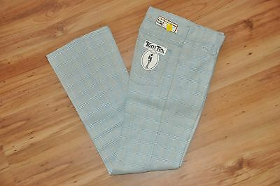 Tem Tex Mens Vtg 70's Plaid Pants 26X32 Western Rockabilly TemTex Blue Golf