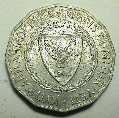 Cyprus Coin 1971 One Mil Low 500,000 Mintage