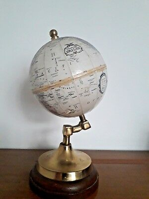 Vintage Replogle World Series Globe on Thomas Blakemore Brass & Wooden Base 9""