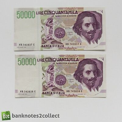 ITALY: 2 x 50,000 Italian Lira Banknotes with consecutive serial numbers
