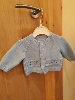 baby boys pale blue hand knitted cardigan size 0-3 months