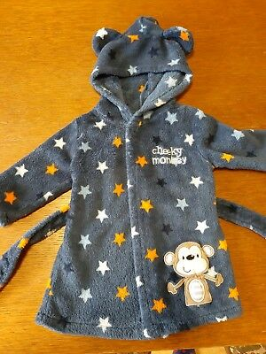 Baby Boy Dressing Gown 6-9 Months Cheeky Monkey Stars Warm