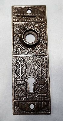 Antique Eastlake Cast Iron Door Knob Backplate Escutcheon Flower Pot Single