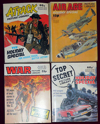 4 Picture Library Holiday Special Issues - Air Ace,war,attack,top Secret 1972-83