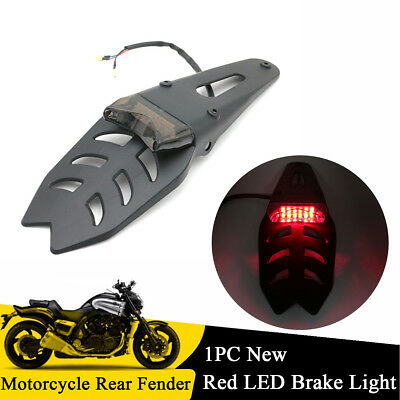 Off-road Motorcycle Rear Fender Red LED Brake Tail Light with Bracket Universal