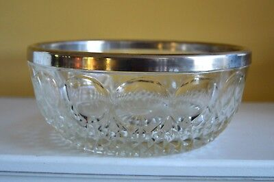 """Vintage Mid century Large Crystal Bowl with silver trim and circle design 9"""" x 4"""