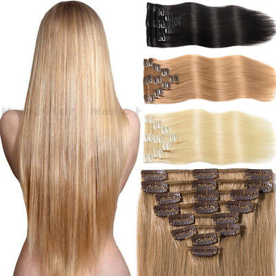 US On Sale 7/8PCS Clip In Soft Straight Remy Human Hair Extensions DIY Full Head