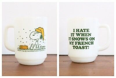 Vintage Fire King Snoopy Mug I Hate It When It Snows On My French Toast