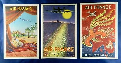 Three Vintage AIR FRANCE POSTCARDS - from 1940's Posters