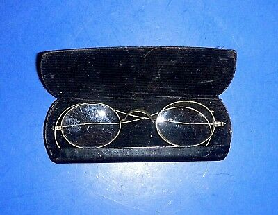 Antique Silvertone Oval Wire Rim Rx Eye Glasses - Small - with hard case