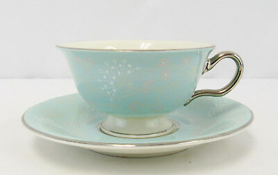 "Vintage Castleton Turquoise Floral ""Corsage"" Footed Teacup and Saucer"