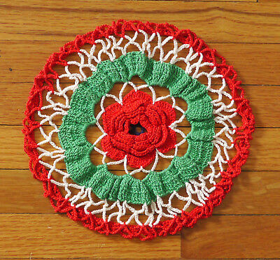 """Vintage crocheted cotton doily with red poppy 3-D center, green and white, 8"""""""