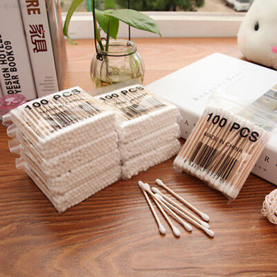 AE71 100x Double-head Wooden Cotton Swab For Medical Women Beauty Make-up Ears