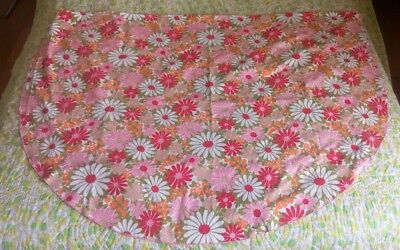 Vintage Table Cloth Pink Floral Flower Power Oval Retro Mid Century Flowers