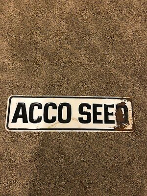 Vintage Large Metal Embossed ACCO SEED Sign 1st Offer It's Yours