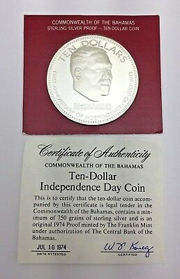 1973 Bahamas 1St Anniversary Of Independence $10 Sterling Silver Proof Coin -Coa