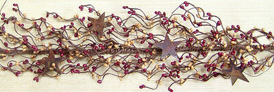 Primitive Country Floral Vine BURGUNDY & TAN PIP BERRY GARLAND w/ RUSTY STARS