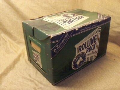 Vintage Rolling Rock Cardboard Beer Carton Case Old Latrobe Glass Returnables