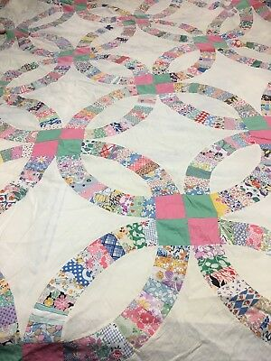 Vintage Pink Green Calico Cotton Handmade Wedding Ring Quilt Top Finish/Cutter