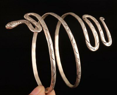Old Tibet silver Hand-Carved Snake Animal Statue Ring Fashion Classic Bracelet