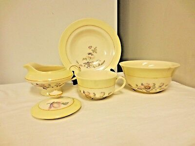 5 Misc. K T & K (Knowles,Taylor,Knowles) China Pieces: Creamer,2 Bowls,Cup,Lid