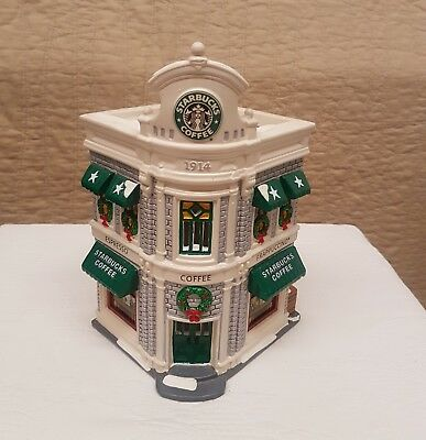 Ret. Dept. 56 Christmas Holiday Snow Village Lighted Lit Starbucks Coffee Shop