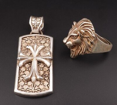 2 Tibetan Silver Hand-Carved Cross Necklace Pendant Head Lion Ring Fashion
