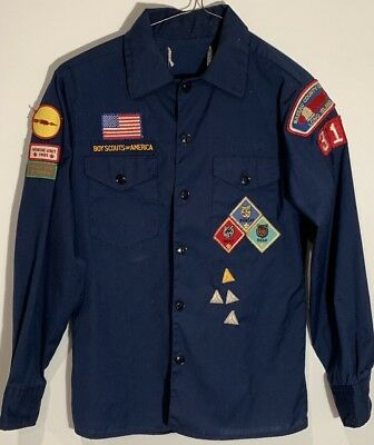 Vintage Cub Scouts Uniform Shirt 1980s BSA Boy Scouts America NY - Honor Unit