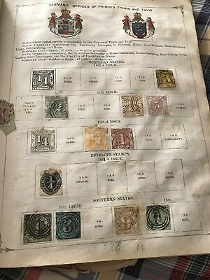 Antique Scott Postage Stamp Page, Germany Thurn Taxis. 1852 29 Stamps